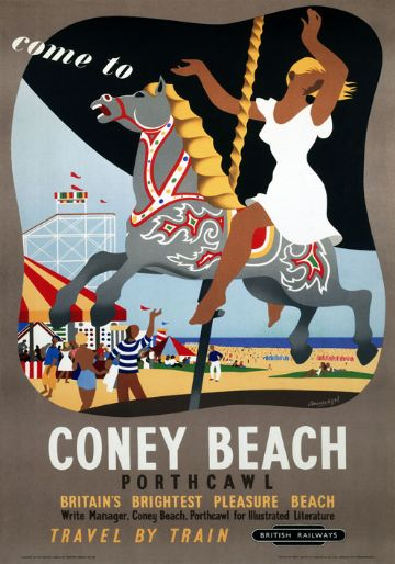 Vintage travel poster - Come to Coney Beach, Porthcawl, Wales. Britain's Brightest Pleasure Beach by British railways